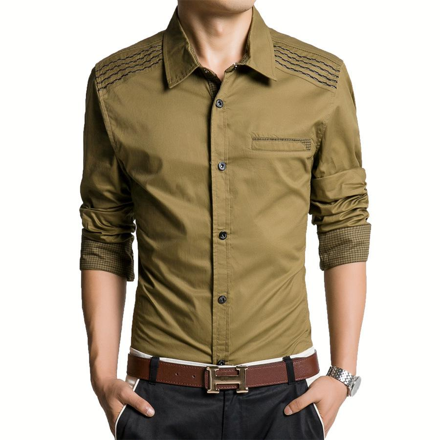 Wholesale-Huabao Military Type Long Sleeve Shirts Men Casual Shirt ...