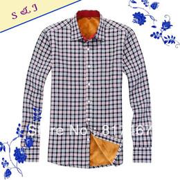 Wholesale-Men's Thermal Shirt Free Shipping Super Warm Winter Dress Shirts Checkered Pattern Type Turn Down Collar Full Sleeves Fashion