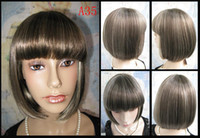 Wholesale 100 Japanese Kanekalon Synthetic Bobo Black Short Straight Hair Wig Wigs