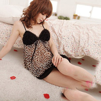 Cheap Wholesale-Womens Lace Leopard Sexy V-neck Straps One Piece Dress Lingerie Sleepwear Nighty Dropshipping Free Shipping