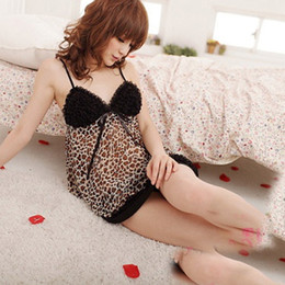 Wholesale-Womens Lace Leopard Sexy V-neck Straps One Piece Dress Lingerie Sleepwear Nighty Dropshipping Free Shipping