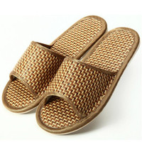 bamboo flip flops - Flax slippers home indoor antiskid men and women natural bamboo rattan mat bottom cool summer slippers Off