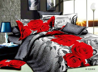 Cheap Wholesale-Hot! Reactive printed 3d bed set 3d bedding set linen cotton bedding set king size bedclothes duvet cover, red rose pattern