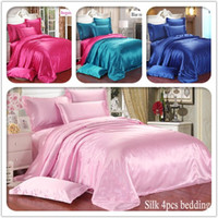 best comforter sets - Europe best selling Summer Icy Pure silk solid bedclothes tribute silk luxury comforter Bedding sets Duvet Cover Bed sheet