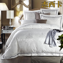 Wholesale White Jacquard Satin duvet comforter cover king queen Palace bedclothes Tribute Silk bed sheet bedding set luxury