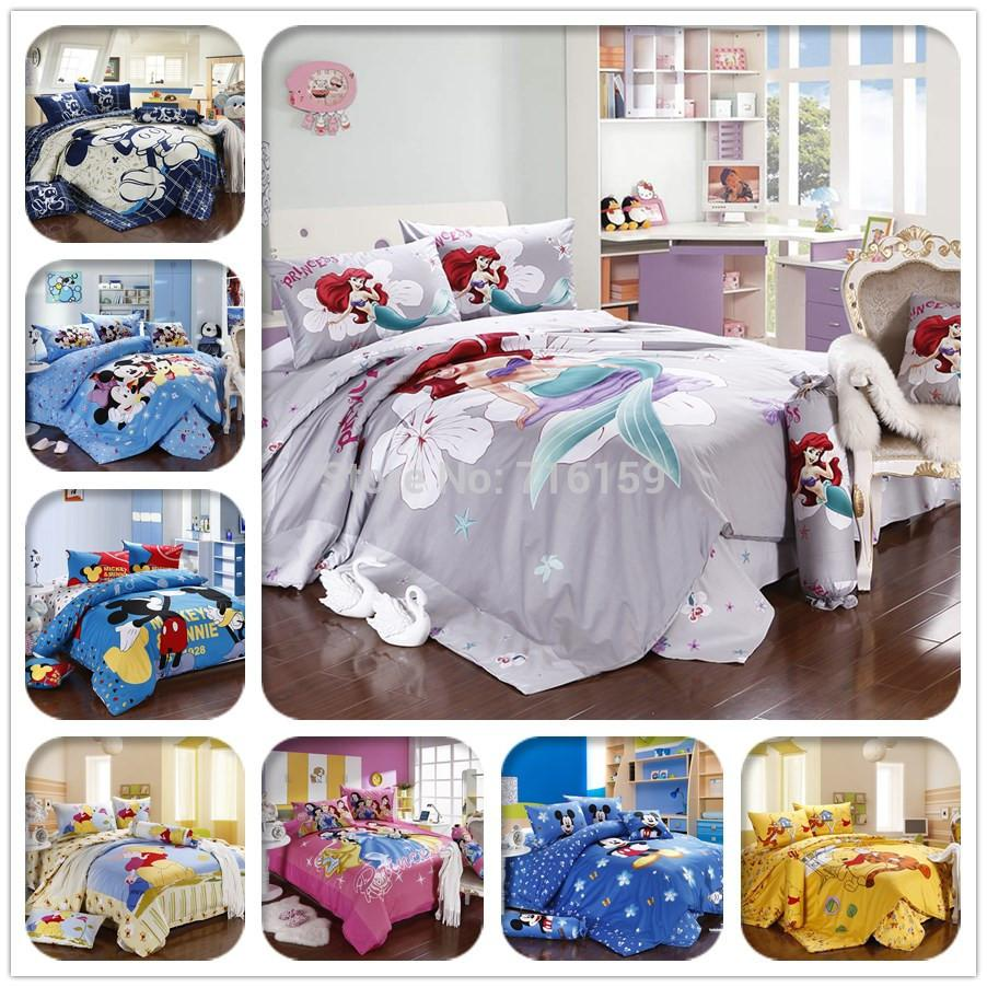 2015 new bed set bedclothes 100 cotton mickey mouse duvet comforter