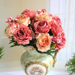Wholesale 2015 New Arrival Big French Style Peony Silk Artificial Decorative Flowers Luxury Home Decor Flower Wedding Bouquet No Vase