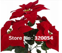 artificial flowers poinsettia - Artificial flowers cm head Poinsettia flowers Christmas decorations High grade raw silk plastic