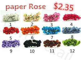 Wholesale Single Stem Rose Flower - Wholesale-Free Shipping 1cm Single Head Multicolor Paper Flower Bouquet Wire Stem  Scrapbooking Artificial Rose Flowers(144pcs lot)