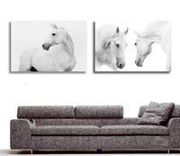 Конные фотографии Цены-Оптово-большие стены картинки для гостиной украшения Art 2 шт Современная декоративная Картина Белая лошадь животных живопись маслом на холсте
