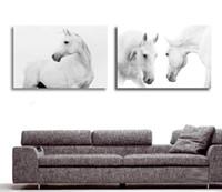 Оптово-большие стены картинки для гостиной украшения Art 2 шт Современная декоративная Картина Белая лошадь животных живопись маслом на холсте