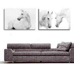 Скидка окрашенная лошадь Оптово-большие стены картинки для гостиной украшения Art 2 шт Современная декоративная Картина Белая лошадь животных живопись маслом на холсте