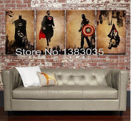 Wholesale Comic Book Hero Batman Superman Captain America Spider Man Handmade Modern Abstract Oil Painting pc Canvas Art Wall Picture Set