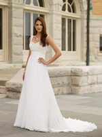 Wholesale 2011 Custom Made Wedding Dresses Mae A Line Sweetheart Chiffon Lace Beaded Bridal Gowns