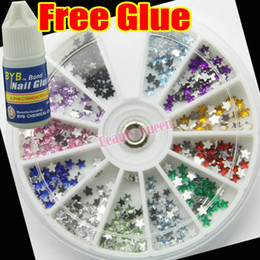 10 Pcs Lot 1200 Nail Art Rhinestone Glitter Star 3.2mm Wheel Acrylic Decoration Tip +Glue FREE SHIP