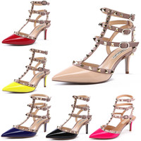 Cheap Wholesale-Women Patent Leather Valentine Rockstud Pointed Toe Rivet Black Nude Red Blue Ankle Strap Gladiator Sandal High Heel Pump Shoes