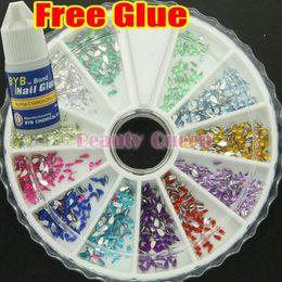 10 Pcs Lot 1200 Nail Art Rhinestone Glitter Teardrop 2mm Wheel Acrylic Decoration Tip Glue FREE SHIP