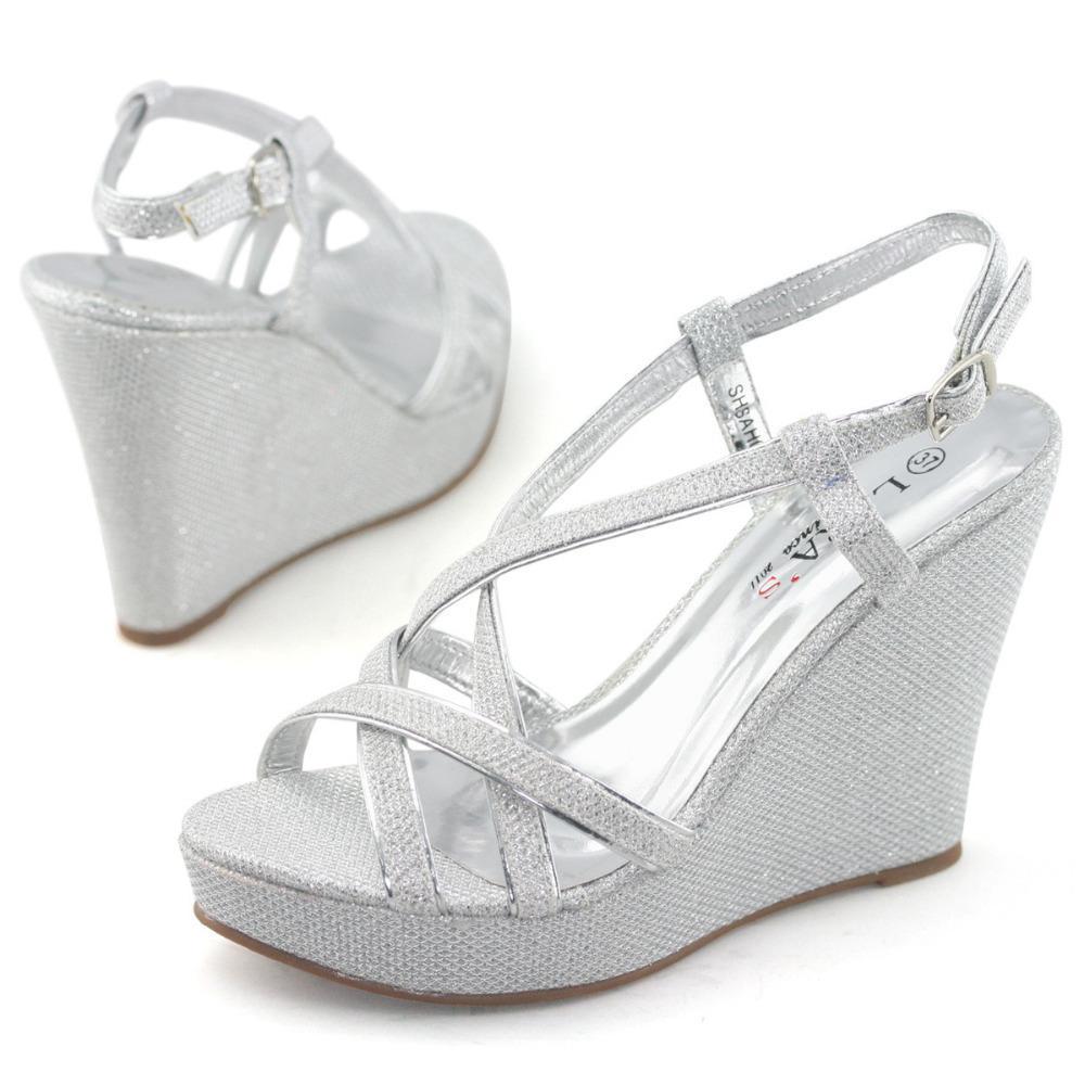 Black dress sandals for wedding - Wholesale Laras Brand Wedge Sandals Women Silver Metallic Glitter High Heels Ladies Party Wedding Shoes
