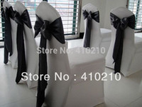 Cheap Wholesale-White spandex\lycra chair cover with Black satin chair sash