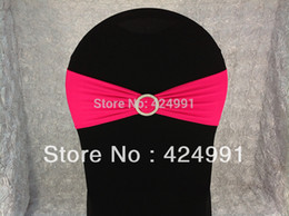 Wholesale-100pcs #21 Hot Pink Lycra Chair Bands with Round buckle ,Lycra Chair Cover Sash Bands for Weddings Events Decoration