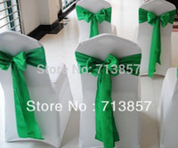 Cheap Wholesale-White Chair Cover \ Wedding Spandex Chair Cover Include Green Color Satin Chair Sash
