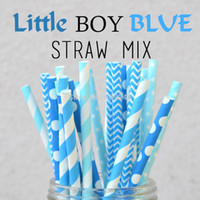 baby boy shower colors - Mixed Colors Little Boy Blue Paper Straws Boy Baby Shower Wedding Birthday Cupcake Toppers Cake Pop Stick