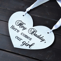 Wholesale Daddy Here Comes our Girl Wedding Signs custom wooden wedding sign Here Comes the Bride Sign