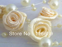 Wholesale M Ivory Ribbon Rose Florets Beaded Strands for Wedding Tree Table Centerpiece Decoration