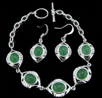 Wholesale MIX SET STERLING SILVER GREEN STONE TURQUOISE DANGLE BRACELET EARRINGS JEWELRY