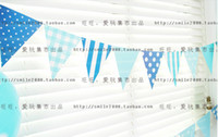 banner happy birthday - Blue Dots Happy Birthday Handmade Paper Flags Bunting Banner for Birthday Party Boy Baby Shower Decoration Supplies