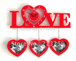Wholesale-Free Shipping for Innovative DIY Wall LOVE Clock With Heart Shape Photo Frame,Wood Material,Mute Movement