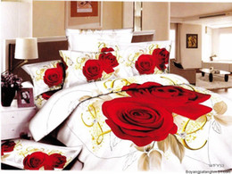 Wholesale-Hot Fashion New Beautiful 100% Cotton 4pc Doona Duvet QUILT Cover Set bedding set Queen  King size Gold float red rose