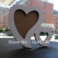 Cheap Wholesale-1X Double Heart White Base Wood Picture Frame Hand DIY Wood Photo Frame