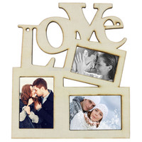 Cheap Wholesale-New Love Wooden Photo Frame With 3 Wood Picture Frame DIY Gift Home Decor Gift Free Shipping 1pcs lot