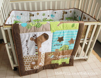 baby twin cribs - Giraffe Animals Baby Boy Bedding Set Early Childhood D Stereo Embroidery Crib Bedding Bed around Bed Fitted Cot Quilt