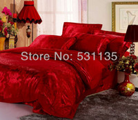 Wholesale Luxury red silk cotton jacquard bedding sets bed duvet quilt cover comforters king queen size bedclothes bedspreads wedding