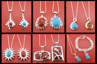 Wholesale MIX STERLING SILVER STONE TURQUOISE NECKLACE BRACELET PENDANT SET POP JEWELRY