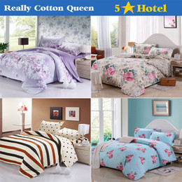 Wholesale-2015 Hot Sale 100% Cotton Bedding sets 4pc (Duvet Cover Bed sheet Pillowcase) Queen Bed set Bed clothes Bed linen Free shipping