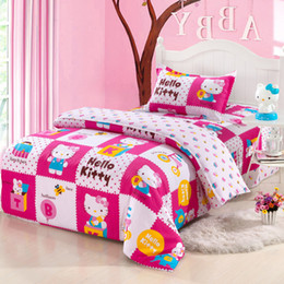 Wholesale-Pure cotton hellokitty cartoon children bedding three-piece dormitory quilt set of 1.2 meters of sheets