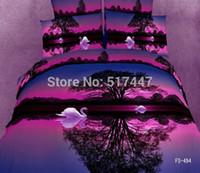 Cheap Wholesale-Brand New 4pcs Luxury bedding set 3d oil painting Quilt Duvet cover set bedsheet bed linen sets cotton bedspread King Queen size