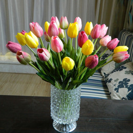 Wholesale HOT Sale PU tulip hand feel high quality artificial flowers top grade factory price colors for home shop party
