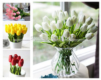 Wholesale Tulip Artificial Flower Real Touch Latex Bridal Wedding Bouquet Home Decor