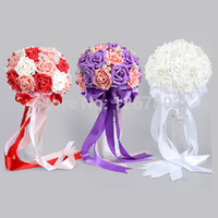 Cheap Wholesale-50pcs 8cm DIY Wedding Arrangement Flowers Bridal Artificial PE Foam Rose Bouquets Floral Party Car Decorations Decor Favors
