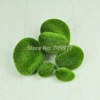 Cheap Wholesale-6pcs Green Artificial Foam Moss Stones Home Garden Decor DIY Landscape