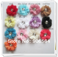 assorted center - color assorted quot silk flower with rhinestone center Great for DIY hair accessories DIYC009