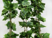 venda por atacado artificial flowers wholesale-Atacado-10pcs como verdadeira uva Silk festão da folha de videira falso artificial Ivy interior / exterior decoração de casa flor do casamento de presente verde do Natal