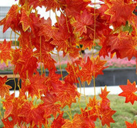 artificial maple leaves - Fruit cane Fake flower decoration Red mapleThe green maple leaf Plant cane vines Plastic Artificial flowers cane leaves