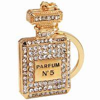 animal perfume women - Fashion Perfume Fragrance Bottle Car Key Chain K Gold Plated Rhinestone Key Ring for Women