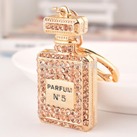 Wholesale Hot sale Charming Classic Lady Gift Crystal Perfume bottles Keychain Costume Bijouterie items
