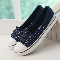 belle shoes - Polka dot summer belle is older shallow mouth canvas shoes low shoes cotton made pedal shoes lazy female shoes